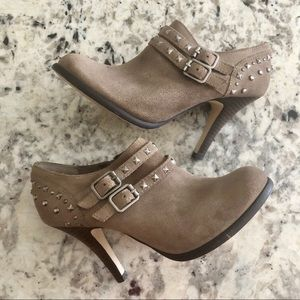 Seychelles Taupe Studded Suede Ankle Booties 7